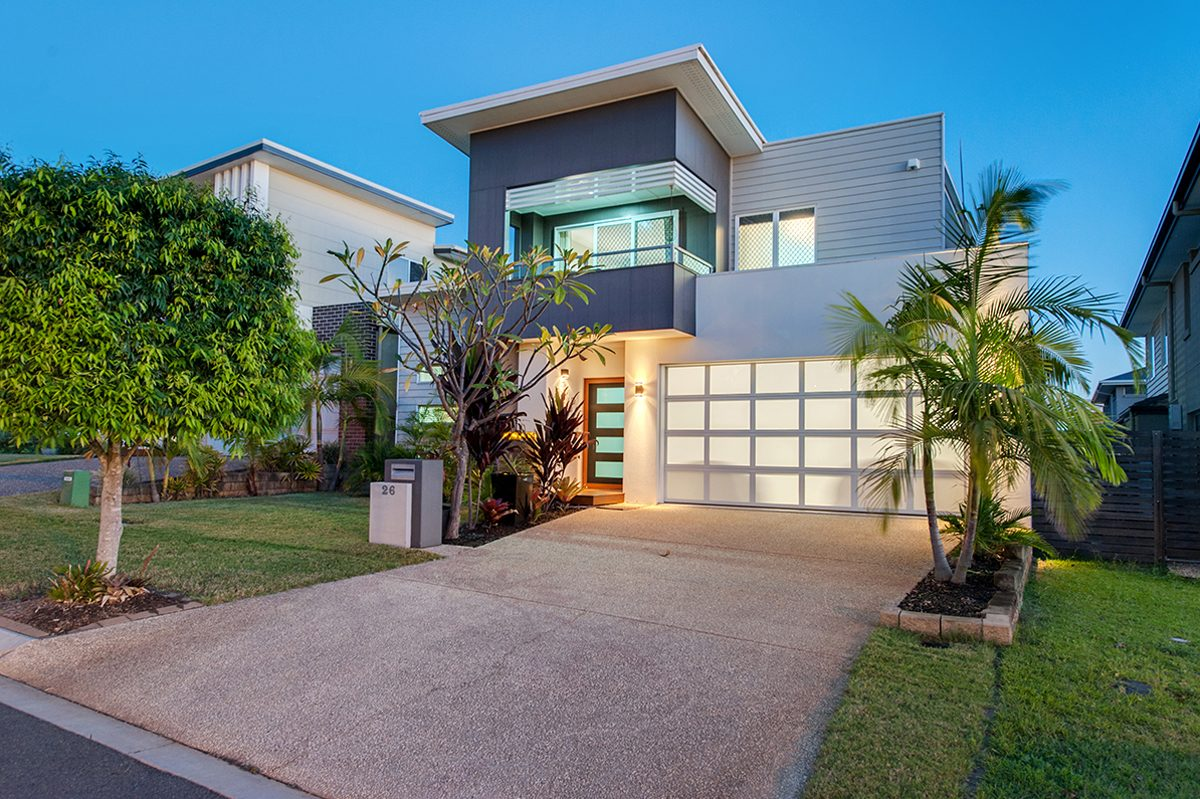 Twilight photograph of home for sale